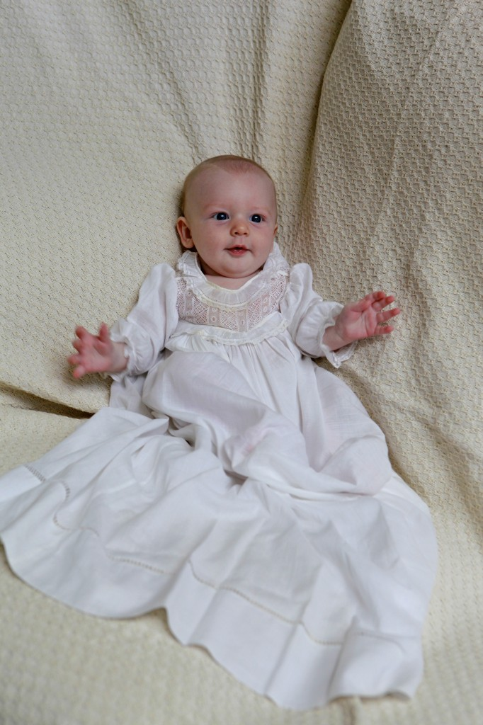14 weeks in antique family heirloom gown