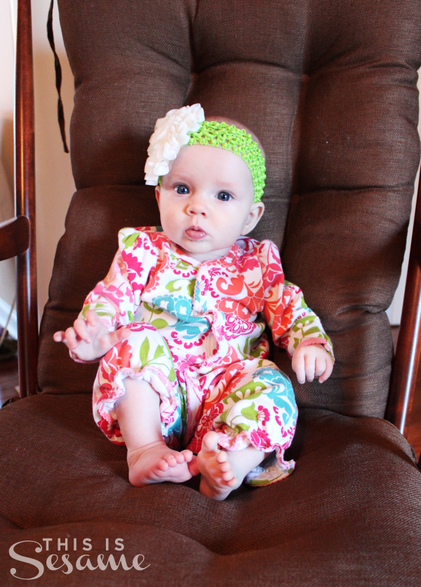 E at 4 months in rocking chair