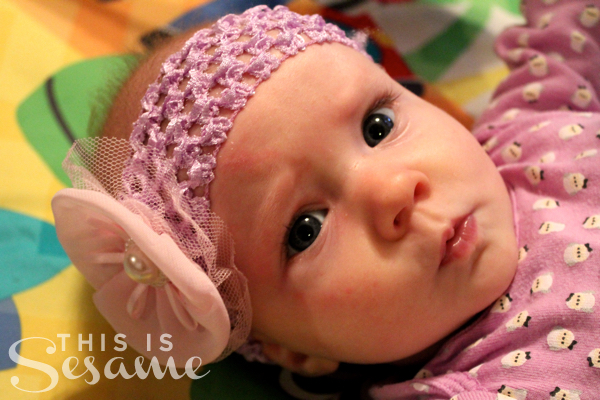E at 4 months old with headband