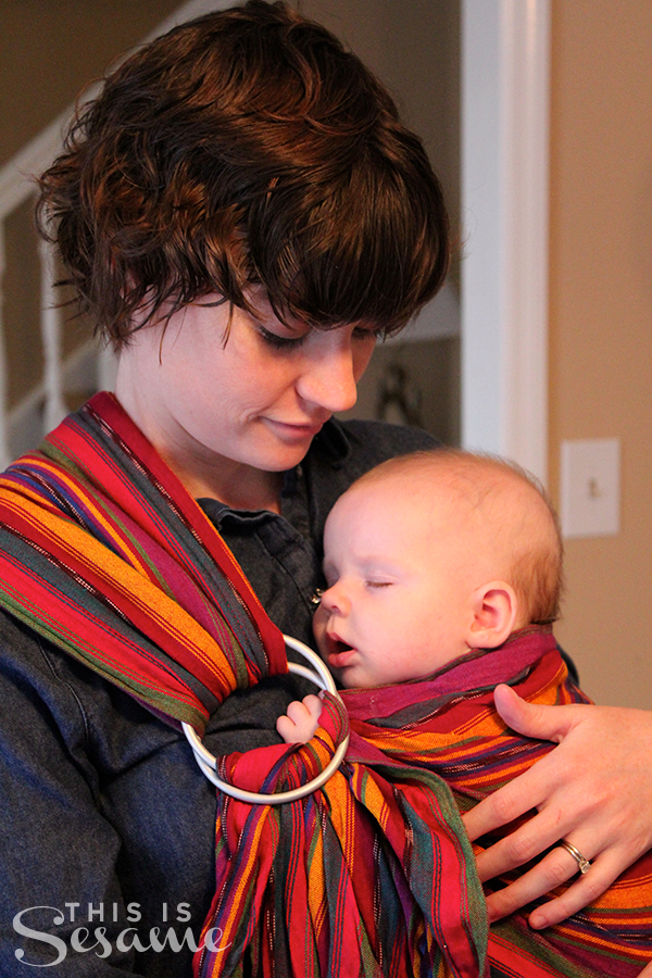 baby girl five months old in a maya wrap ring sling